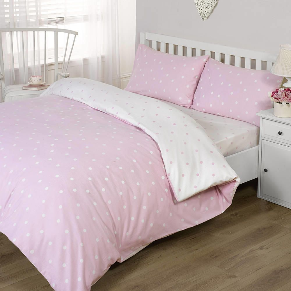 Polka Dot Single Duvet Pink From Litecraft