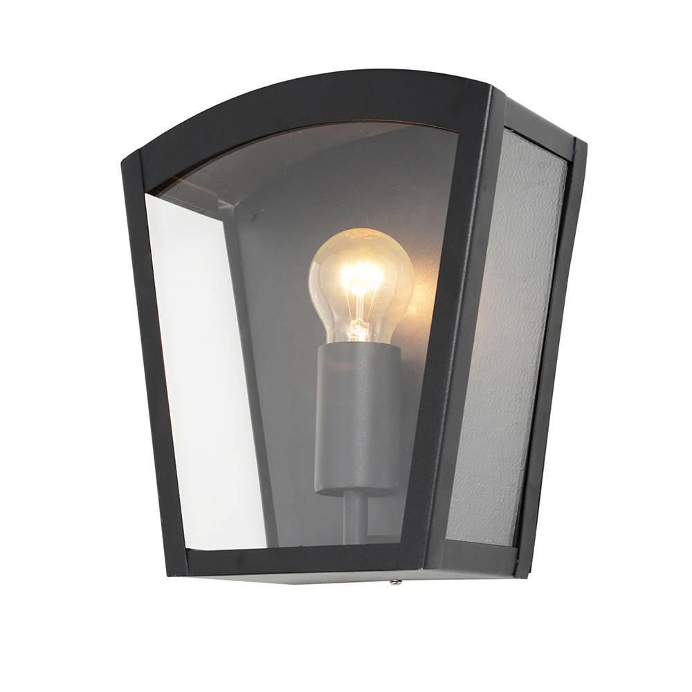 Wall Lights Lantern : Hamble Outdoor Lantern Curved Wall Light - Black from Litecraft