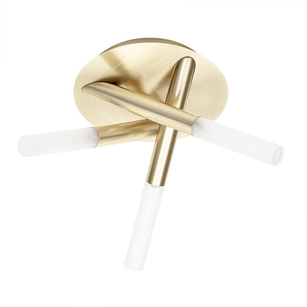 Cross 3 Light Bathroom Semi Flush Ceiling Light - Satin Brass