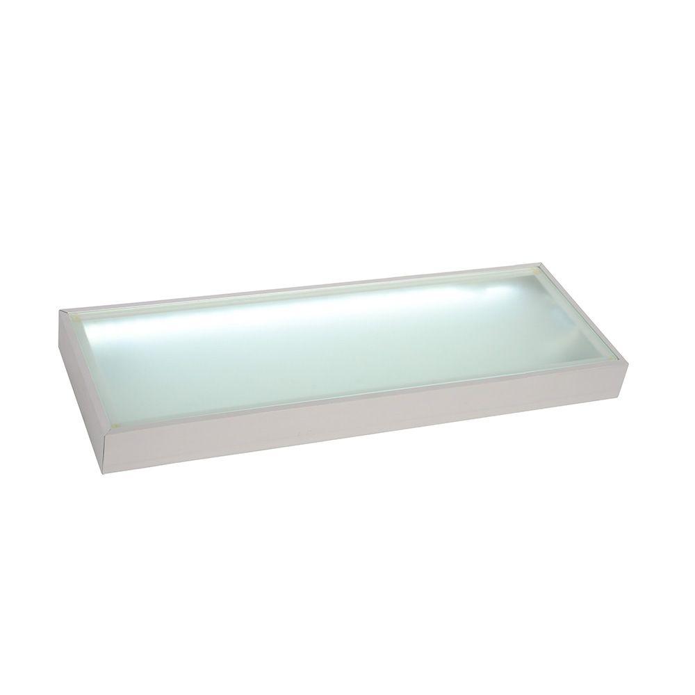 Cornish 60cm Illuminated Kitchen LED Glass Box Shelf  Aluminium