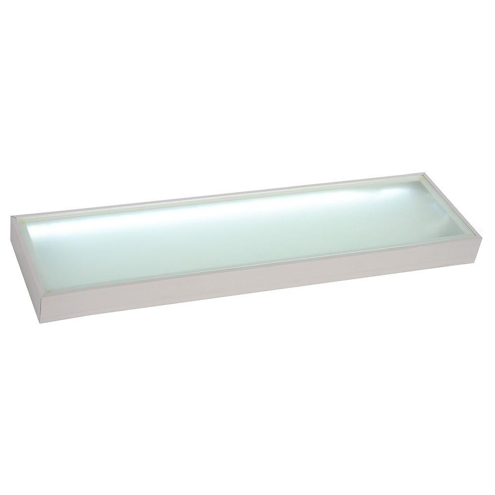 Cornish 90cm Illuminated Kitchen LED Glass Box Shelf  Aluminium