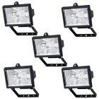 5 Pack of Outdoor 150 Watt Floodlights with Free Bulbs - Black