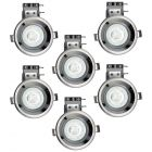 Pack of 6 Fire Rated IP20 Fixed Downlighter with LED Bulbs - Black Chrome