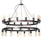 Carter 30 Light Vintage Style Cartwheel Ceiling Pendant - Rust