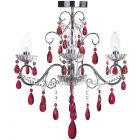 Vara 3 Light Bathroom Chandelier with Red Crystals - Chrome