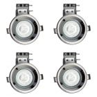 Pack of 4 Fire Rated IP20 Fixed Downlighter with LED Bulbs - Black Chrome