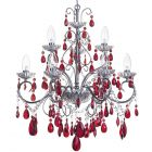 Vara 9 Light Bathroom Chandelier with Red Crystals - Chrome