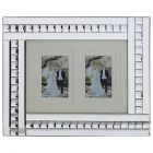 Mirrored Bar and Stud 2 Image Picture Frame - Silver