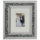 Mirrored 1 Image Picture Frame with Inlaid Diamond Style Crystals - Silver