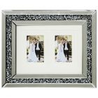 Mirrored 2 Image Picture Frame with Inlaid Diamond Style Crystals - Silver