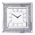 Square Mirrored Classic Face Clock - Chrome