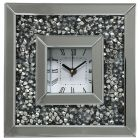 Square Mirrored Clock with Inlaid Diamond Style Crystal Frame - Silver