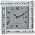 Square Mirrored Clock with Studded Crystal Frame - Silver