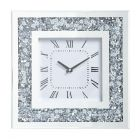 Gatsby Square Mirror Wall Clock with Smoked Glass - Silver