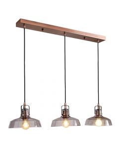 Cena 3 Light Diner Pendant Bar - Copper