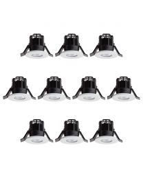10 Pack of Integrated LED IP65 5000K Fixed Fire Rated Downlight - White
