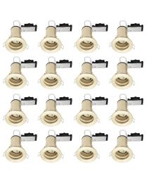 16 Pack of Fixed Fire Rated Cast Recessed GU10 Downlight - Brushed Brass