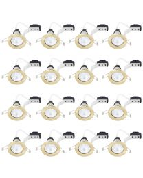 16 Pack of Fixed Recessed GU10 Downlight with LED Bulbs - Brushed Brass