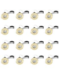 16 Pack of IP65 Rated Recessed GU10 Downlight with LED Bulbs - Brushed Brass