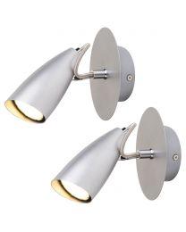 Pack of 2 Garufo 1 Light Spotlight Wall Light - Grey