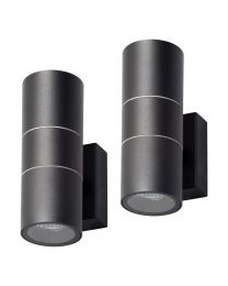 2 Pack of Kenn 2 Light Up and Down Outdoor Wall Light - Black