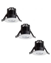 3 Pack of Integrated LED IP65 Cool White Fire Rated Bathroom Downlights - White