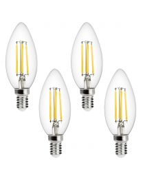 4 Pack of 4 Watt LED Vintage Style Filament E14 Light Bulbs - Cool White