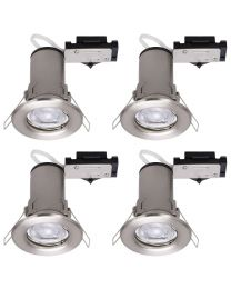 4 Pack of Fixed Fire Rated Downlighters with LED Bulbs - Brushed Chrome