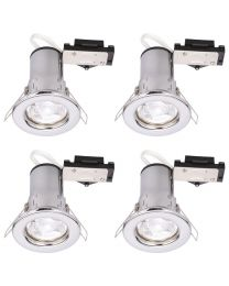 4 Pack of Fixed Fire Rated Downlighters with LED Bulbs - Chrome