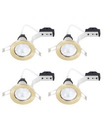 4 Pack of Fixed Recessed GU10 Downlight with LED Bulbs - Brushed Brass