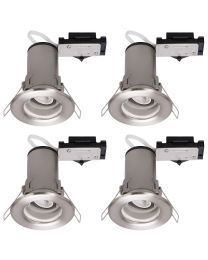 4 Pack of Fixed Fire Rated Downlighters - Brushed Chrome