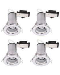 4 Pack of Fixed Fire Rated Downlighters - Chrome