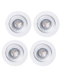 4 Pack of Diecast Tilt Downlight with LED Bulbs - White