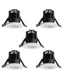 Pack of 5 Integral LED Fixed Cool White Fire Rated Downlights - White