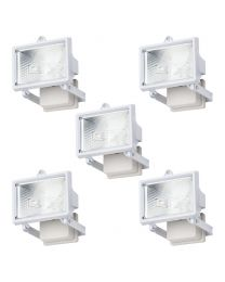 5 Pack of Outdoor 100 Watt Wall Security Floodlights - White