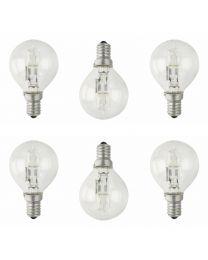 6 Pack of 28 Watt E14 Eco Mini Globe Halogen Light Bulbs - Warm White