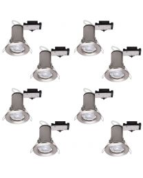 8 Pack of Fixed Fire Rated Downlighters with LED Bulbs - Brushed Chrome