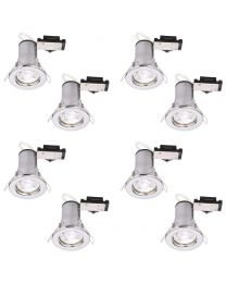8 Pack of Fixed Fire Rated Downlighters with LED Bulbs - Chrome