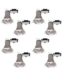 8 Pack of Fixed Fire Rated Downlighters - Brushed Chrome