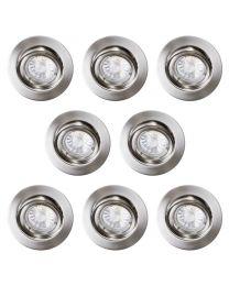 8 Pack of Diecast Tilt Downlight with LED Bulbs - Brushed Chrome