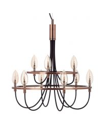 9 Light Vintage Style Chandelier - Copper