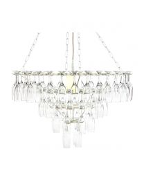 4 Tier Champagne Flute Glass Chandelier - White