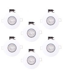 Pack of 6 Fire Rated IP20 Fixed Downlighter with LED Bulbs - White