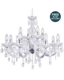 Marie Therese 12 Light Dual Mount Chandelier - Chrome with LED Bulbs