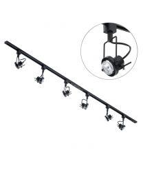 2 Metre LED Track Lighting with 6 Greenwich GU10 Fixture & 6 LED Bulbs - Black