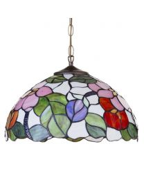 Tiffany Floral 16 Inch Ceiling Pendant Shade – Multi Coloured