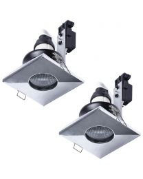 2 Pack of IP65 Rated GU10 Fixed Position Square Downlighter - Chrome