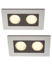 2 Pack of Heka 2 Light Twin Aluminium Recessed Downlights - Aluminium