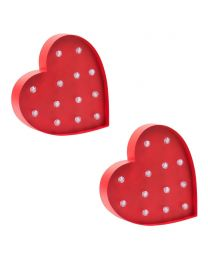 Novelty Heart Shaped Table or Wall Light - Red