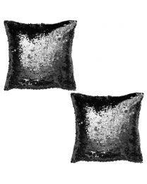 2 Pack of Glitz Glossy Sequin Cushion - Black